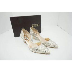 Badgley Mischka Ivory Satin Bridal Shoes
